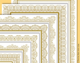 Page Border Gold Certificate Frame Clipart - create your own Award with this 8x11 Vintage Page Borders - FREE Commercial Use 10332