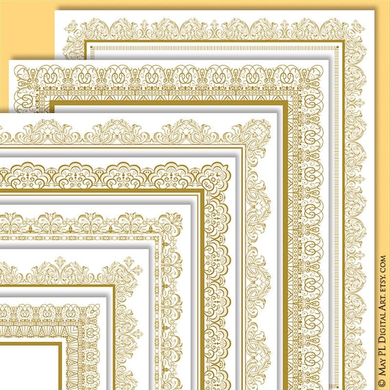 page border gold certificate frame clipart create your own etsy