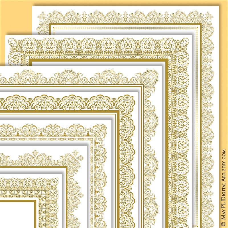 Page Border Gold Certificate Frame Clipart create your own ...