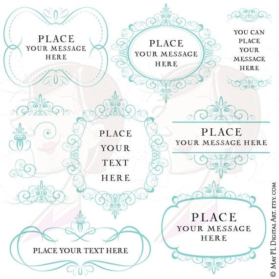 Turquoise Frames Border Design Clipart Diy Wedding Etsy