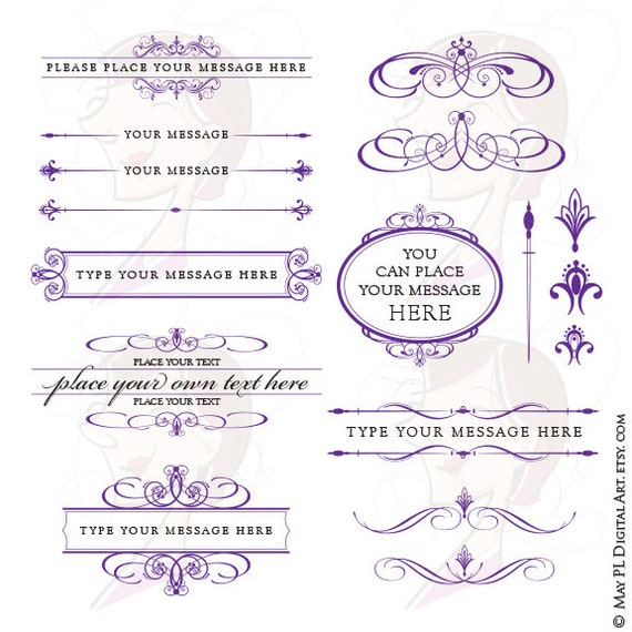 Royal Purple Wedding Clipart Set includes Frames Text | Etsy