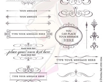 Calligraphy Wedding VECTOR Clipart Set Charcoal Gray Grey Diy Invitation Digital Scrapbook Text Dividers Oval Frame COMMERCIAL USE 10152