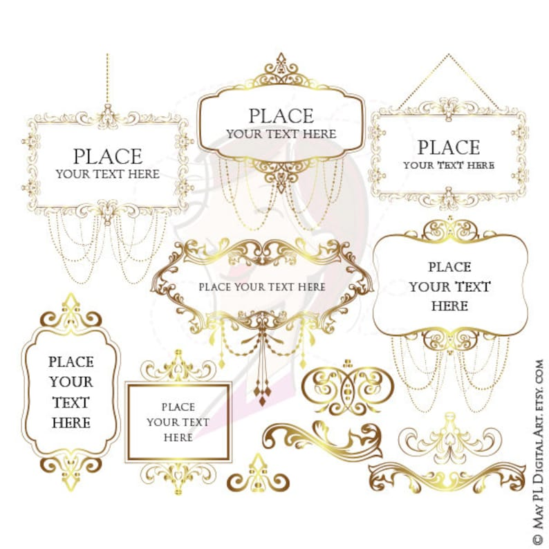 7411e9297ed Gold Chandeliers Frames Vintage Clip Art perfect as Bridal