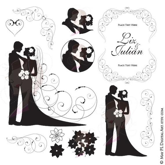 bride groom clipart wedding silhouette bride and groom etsy rh etsy com clipart bride and groom graphic bride and groom clipart black and white