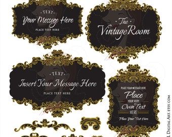 Gold French Frames - Vintage Signs Clipart, Black in the Middle, create Wedding Logo, Business Branding, Labels, Tags - Commercial Use 10167