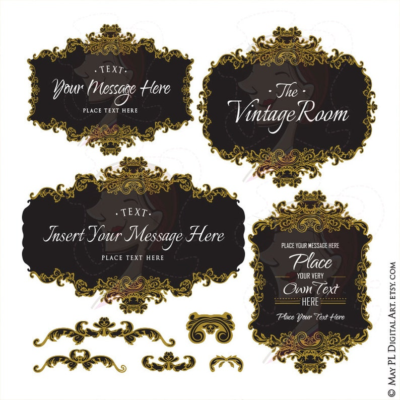 a0b9618234a3 Gold French Frames Vintage Signs Clipart Black in the