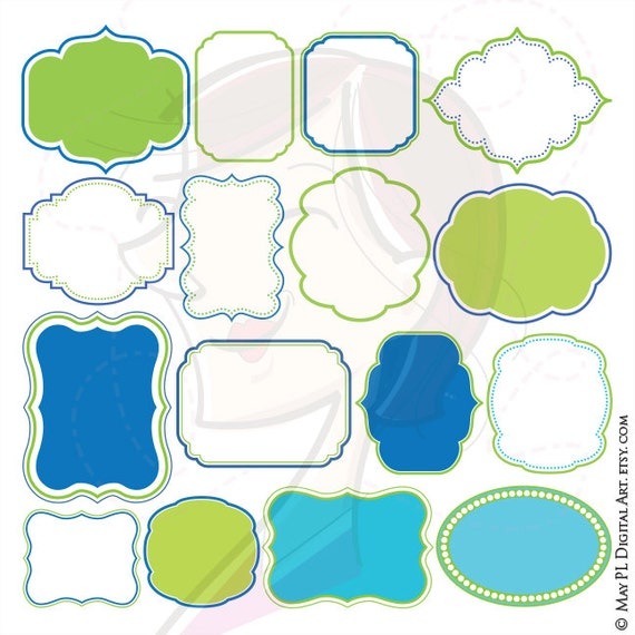 Green Blue Frame Digital Download Vector Invitation Frames Etsy
