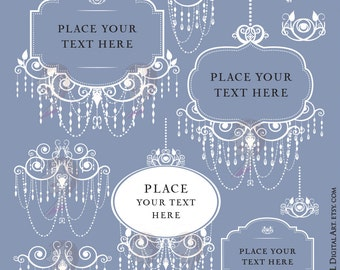 Digital Frames Png, featuring White Chandelier Frames Clipart, Vintage style for Business Branding, Wedding Logo - FREE Commercial Use 10184
