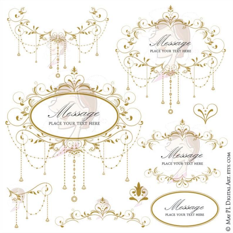 da5dace9424 Antique Gold Wedding Clip Art Gold Garland Retro Foliage