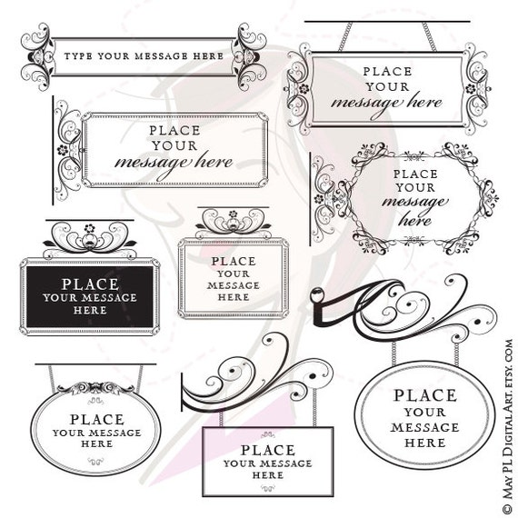 Victorian frame border Powerpoint Template Image Etsy Victorian Frame Signs Floral Flourish Borders Business Etsy