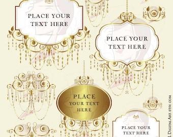 GOLD Chandelier Digital Frames Clip Art Commercial Use Vintage Elegant Wedding Logo Design Clipart Vector Png Files Instant Download 10509