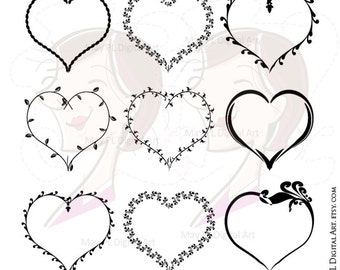 Valentines Heart Svg Frames - Love Frame VECTOR Clip Art also great for Mothers Day, Birthday Card Making - FREE Commercial Use 10081