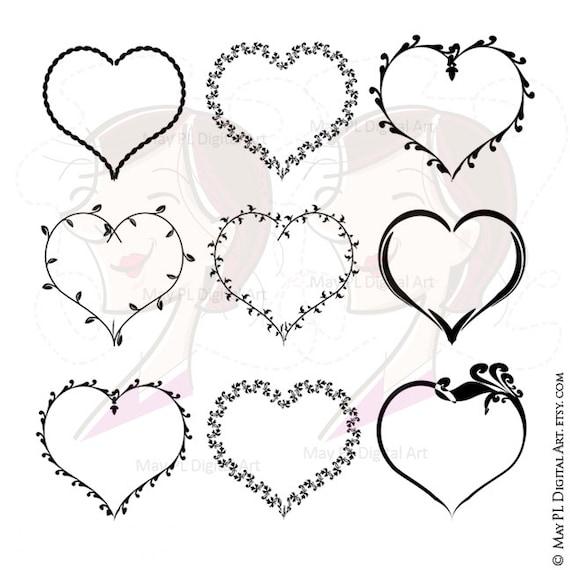 Valentines Heart Svg Frames Love Frame Vector Clip Art Also Etsy
