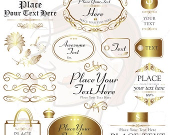 Business Office Clipart - Gold Flourish Frame Design for DIY Business Card or Branding - FREE Commercial Use 10494