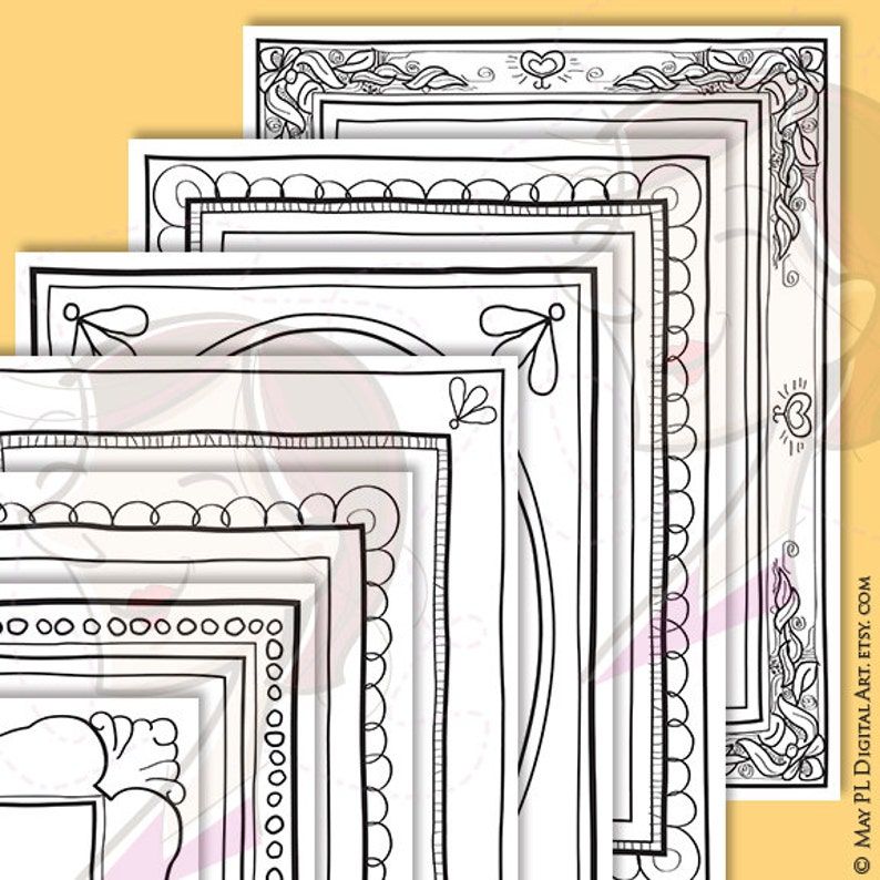 Hand Drawn Borders Png  8x11 Page Border Clipart perfect for image 0