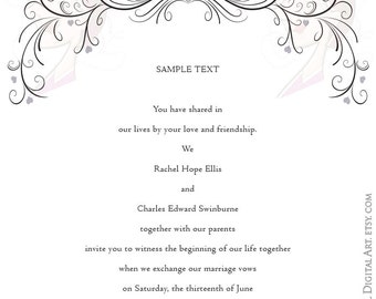 Swirl Border Png Vector Clipart - easily insert these Digital Flourishes into MS Word to create your own Elegant Wedding Designs 10274