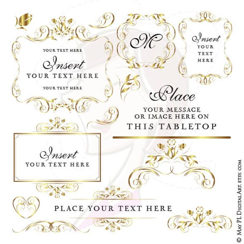0a9f3f77767c Gold Flourish Frame Wedding Digital Floral Clipart DIY Program