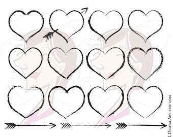 Heart Frames Rustic Wedding Clipart Digital Design Hand Drawn Arrows Handdrawn Clip Art Scrapbook Valentines Day Commercial Use 10439
