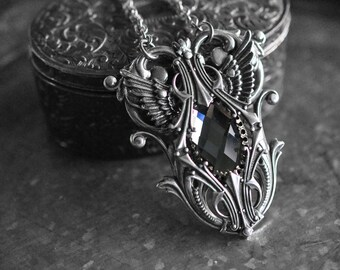 48aa006c69b Antique silver winged necklace - black diamond version - gothic victorian -  fantasy jewelry