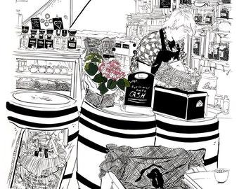 Coffee House Illustration Print - Nottingham