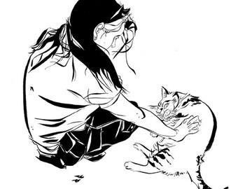 Illustration print of 'Woman petting cat'.