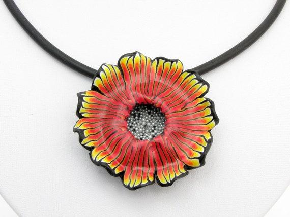 Black Gerbera 25 Handmade Polymer clay Fimo floral flower Beads