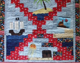 Nautical quilt nautical patchwork and applique quilt for etsy