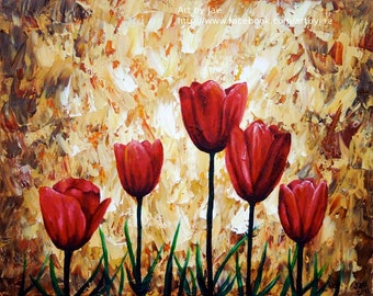 Red Tulips Painting Realistic Acrylic 8x10 Canvas Home Decor