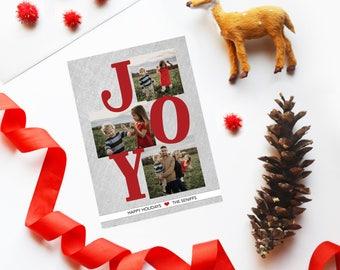 Modern Three Photo Holiday Card, Christmas Cards, DIY Printable, Printed Cards, Christmas Photo Cards, JOY, Holiday Photo Cards, 3 photos