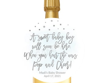 Modern Pop It When She Pops Tag Template Baby Shower Champagne Tag Simple Baby Shower Mini Champagne Bottle Labels  Corjl  WP5677