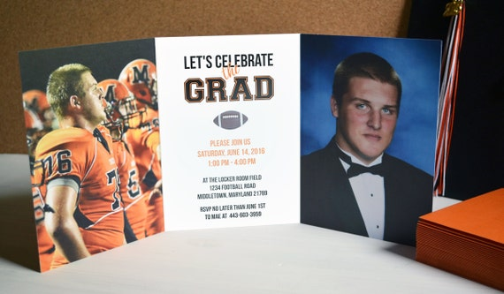 Trifold Graduation Invitations Two Sided Graduation Etsy