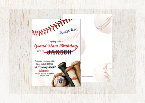 Baseball Birthday Party Invitations Personalized Invite Tee Ball Little League DIY Printable Or Prints Fast Service