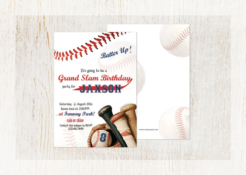 Baseball Birthday Party Invitations Personalized
