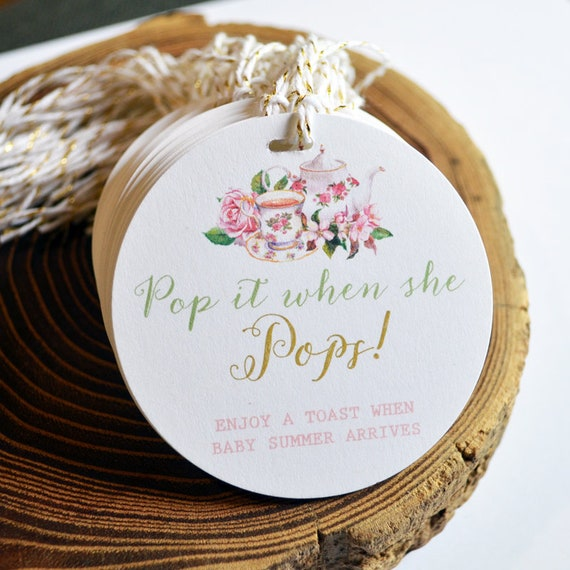 Tea Party Baby Shower Tag Tea Party Decor Personalized Gift Tags