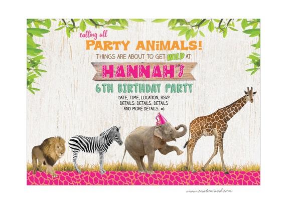 safari birthday invitations girl jungle party invite zoo etsy