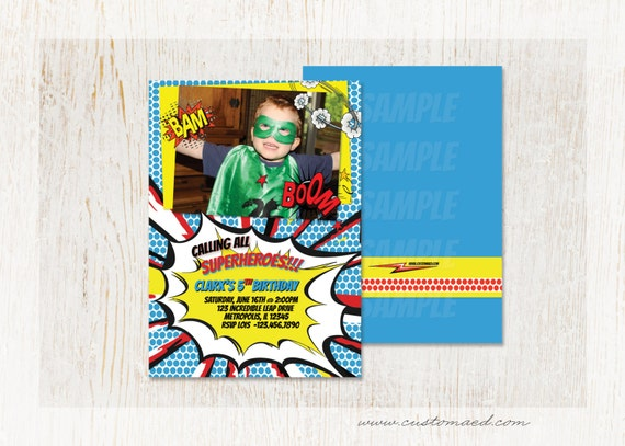 SUPERHERO BIRTHDAY Invitation Boy Birthday Party Invitations Printable Card Two Sided 4x6 Or 5x7