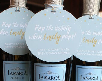 Pop the Bubbly Baby Shower Tags, Personalized Champagne Tags, Gift Tag, Party Favors, Baby Shower Brunch, Pop Fizz Clink, Pop Favor tags