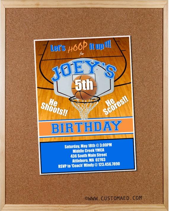 Basketball Birthday Invitations Boy Party Invites