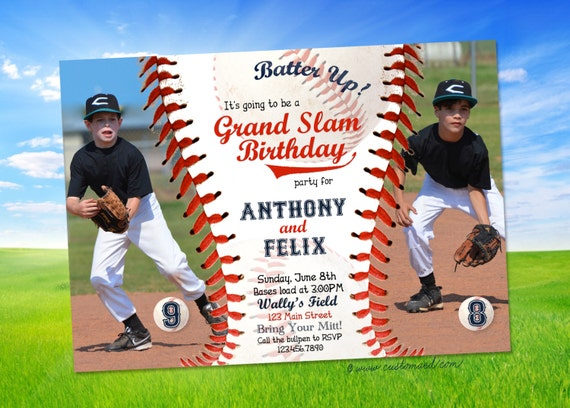 Baseball Birthday Invitation Two Photos