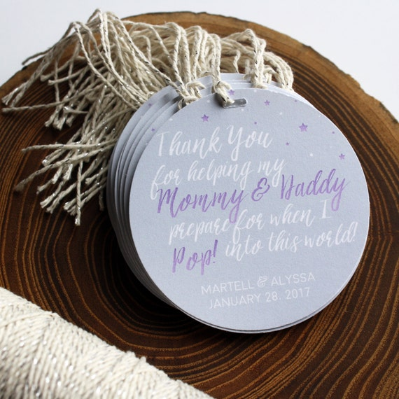 Baby Shower Favor Tags Purple Baby Shower Baby Shower Etsy