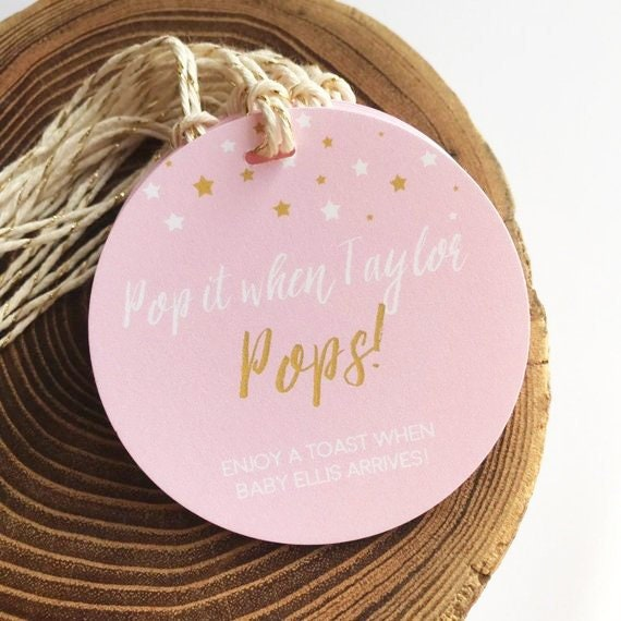 Champagne Baby Shower Tag Pop It When She Pops Pink Baby Etsy