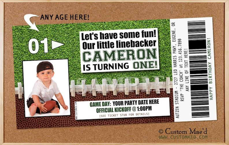 Football Birthday Invitation Party