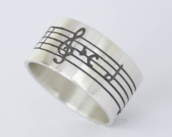 MUSIC NOTE RING. Personalized Ring. Swan Lake Ring. Treble Clef Ring. Sheet Music. Sterling Silver Ring. Tchaikovsky Jewelry
