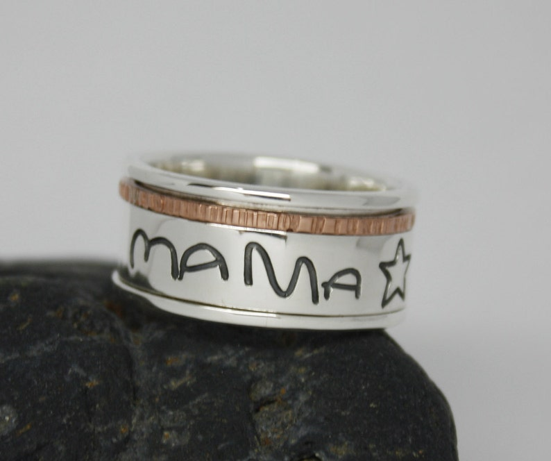 Words Customized Spin Ring Worry ring Names SPINNER RING Engraved ring Sterling Silver Ring with Actual Handwriting