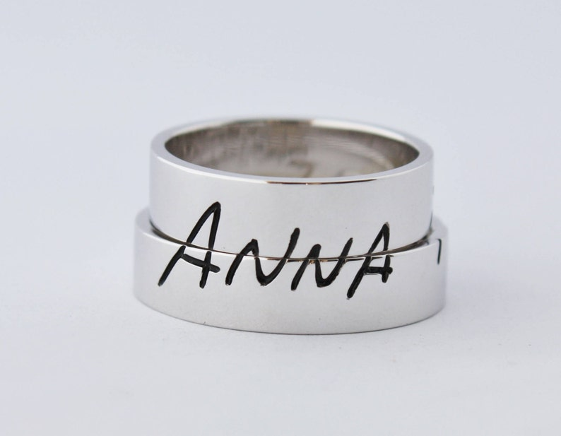 Custom Wedding Ring set Original Sterling Silver Wedding Bands Handwriting Wedding Band Couple ring set WEDDING BAND SET