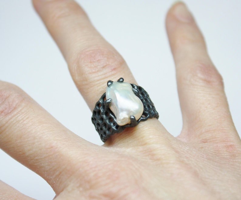 Sterling Silver Ring WHITE PEARL ENGAGEMENT Ring White Pearl Ring Organic Textured Ring One Of A Kind.Birthstone june