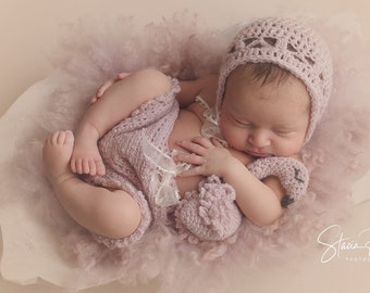 Flamingo Pink and Sweet, Newborn-3 Months Crochet Pattern. PATTERN Instant Download. Bloomers, Bonnet, and Stuffie Buddy Toy