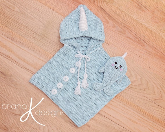 Narwhal Poncho Buddy Crochet Pattern Sizes Newborn To Etsy