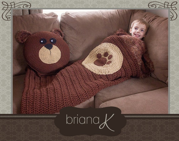 Bear Sleeping Bag Pillow Crochet Pattern For Toddler Etsy