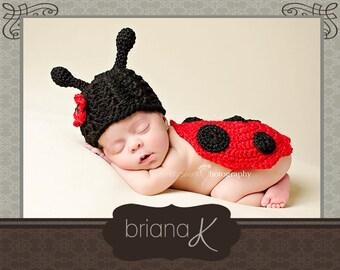 Crochet Pattern Baby Newborn Ladybug, Instant Download, photography prop, Halloween costume, easy to follow crochet pattern instructions.